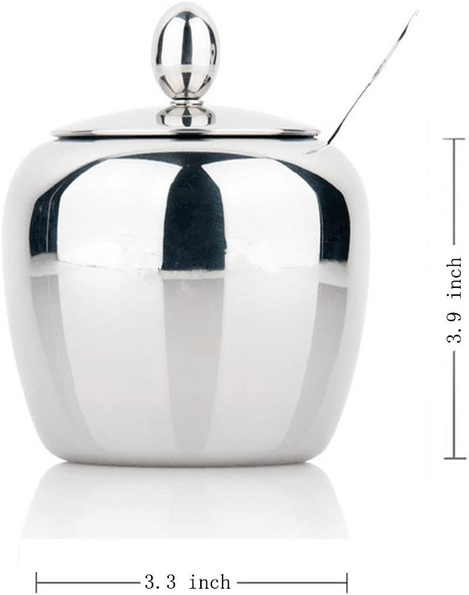 Stainless Steel Sugar Bowl with Lid and Spoon 300 Milliliter Cute Design Apple Shape 10 Ounces Sugar Dispenser Sugar Bowl Seasoning Container Also for Spice Container Sugar Container