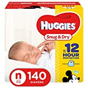 HUGGIES Snug & Dry Diapers, Size Newborn, 140 Count, GIGA JR PACK (Packaging May Vary)