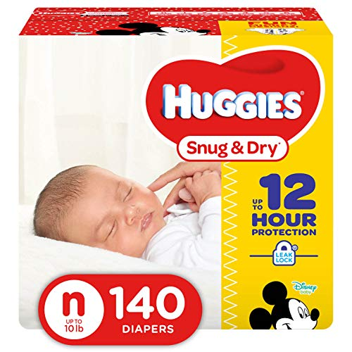 HUGGIES Snug & Dry Diapers, Size Newborn, 140 Count (Packaging May Vary)
