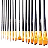 Mont Marte Studio Art Paint Brush Set with Easel Wallet, 15 Piece. Includes 15 Two-Tone Taklon Bristle Paint Brushes and Easel Wallet with Zip Fastening. Suitable for Acrylic, Oil and Watercolor Painting.