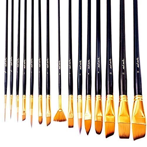 Mont Marte  Art Paint Brushes Set for for Watercolor, Acrylic, Oil 15 Different Sizes for Artists, Adults & Kids, Black -