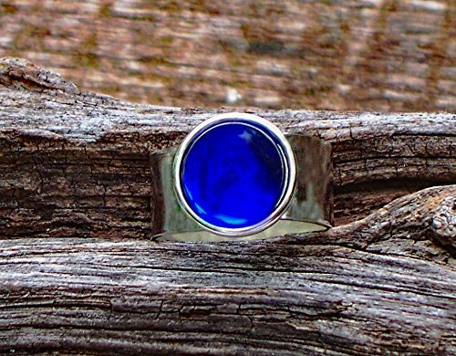 - Recycled Vintage Cobalt 1960's Face Cream Jar Glass Gem Adjustable Ring
