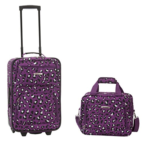 rockland-rio-upright-carry-on-tote-2-piece-luggage-set-purple-leopard
