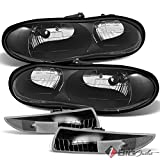 02 camaro black headlights - For 1998-2002 Chevy Camaro Black Headlights + Front Bumper Turn Signal Lights w/Clear Refl 1999 2000 2001