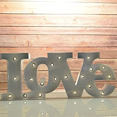 Fantado Marquee Light White 'LOVE' Word LED Metal Sign (Battery Operated) by PaperLanternStore