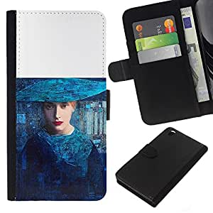For HTC DESIRE 816 Case , Blue Woman Fashion Art Haut Couture - la tarjeta de Crédito Slots PU Funda de cuero Monedero caso cubierta de piel