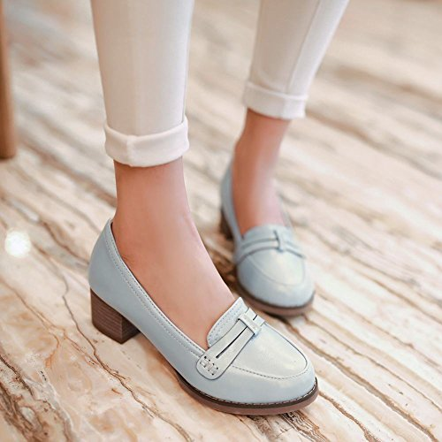Latasa Mujeres Fashion Mid-chunky Heel Slip On Mocasines Zapatos Azul Claro