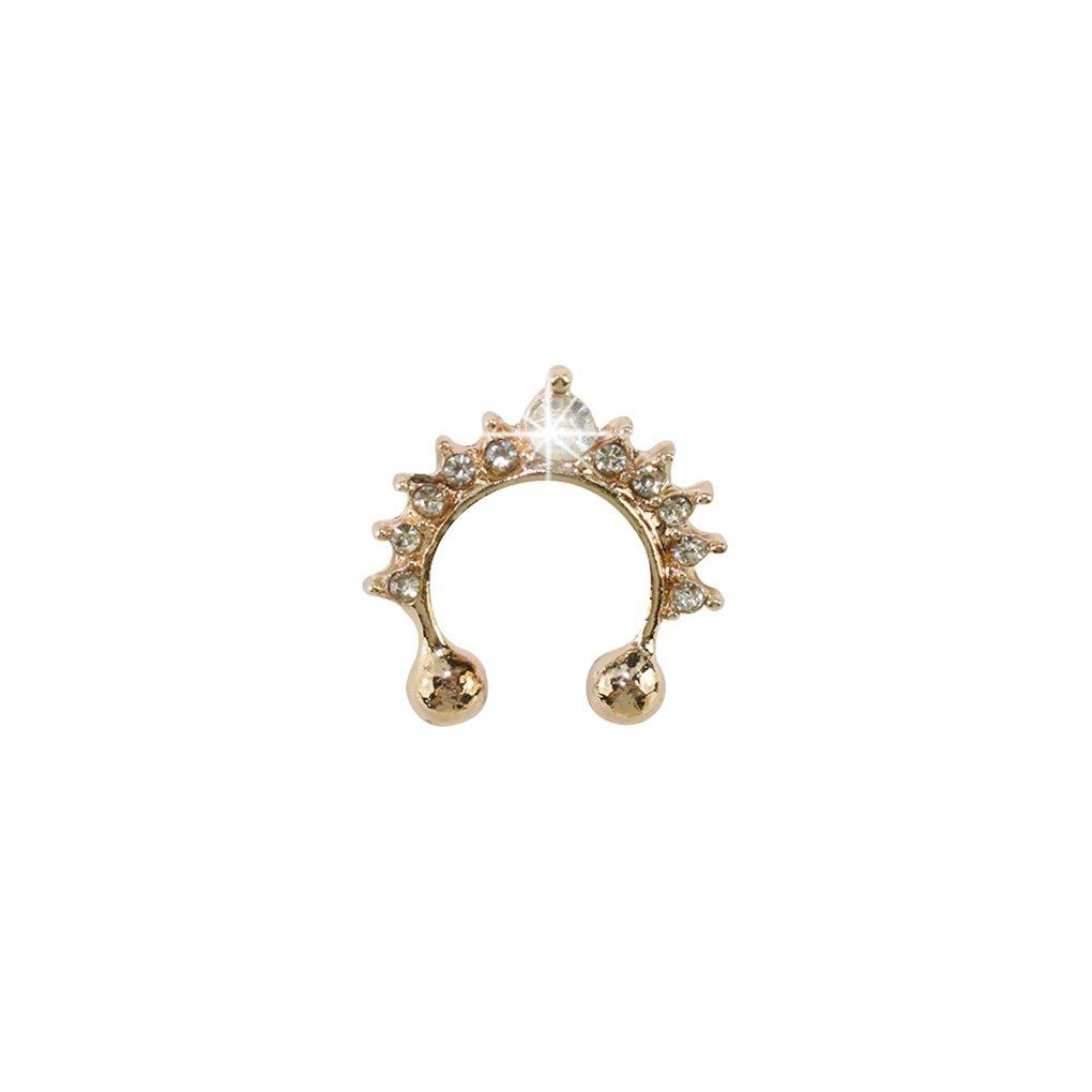LUFA 1x Noose Hoop Gef/älschte Septum Ring Kristall Nasen-Bolzen Non-Piercing Nasen-Ring-Bolzen