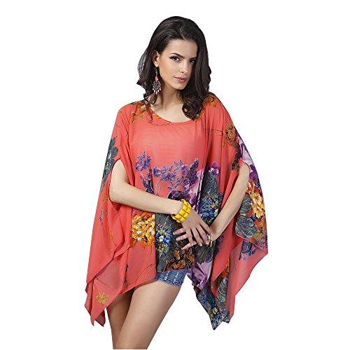 Lora Dew(TM) Las mujeres de gran tamaño Tops impreso floral de la gasa del poncho Top Rojo