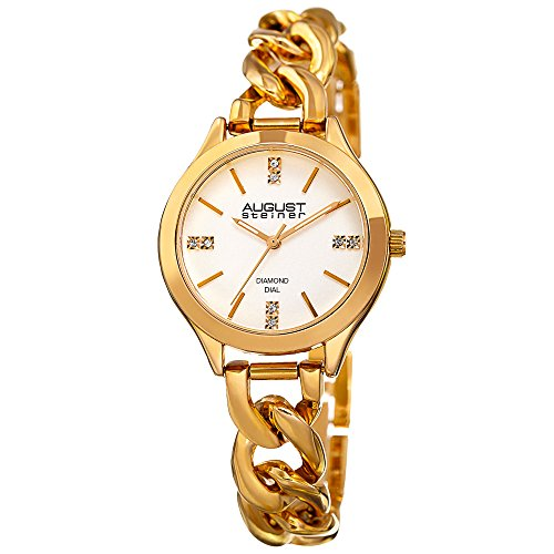 August Steiner Women's Genuine Diamond Colored Dial and Steel Chain Link Bracelet Watch (Yellow Gold) ()