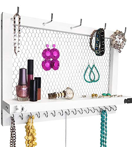 Large White and Silver Wall Mounted Hanging Jewelry Organizer, Perfect Holder for Earrings Necklaces Bracelets-Silver Chicken Wire, Present for Women, Wife, Mom, Girlfriend