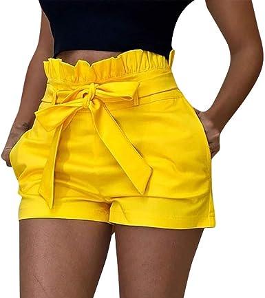 Pantalones Mujer Cortos Verano Paolian Pantalones Sexy Vestir Fiesta Cintura Alta Talla Grande Baratos Con Cinturon Casual Pantalones Playa Fiesta Amazon Es Ropa Y Accesorios