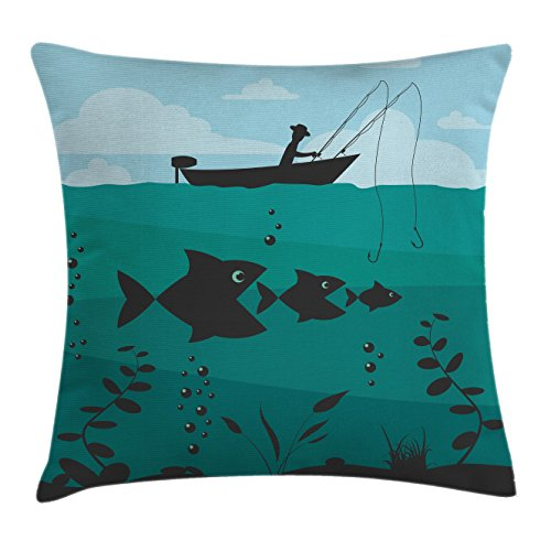 Ambesonne Fishing Decor Throw Pillow Cushion Cover, Single Man in Boat Luring with Bobbins Nautical Marine Sea Nature Funky Image, Decorative Square Accent Pillow Case, 20 X 20 Inches, Blue Teal -