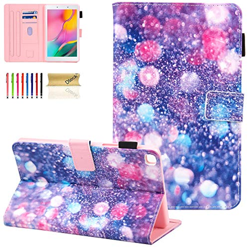 Dteck Galaxy Tab A 8.0 2019 Case T290 T295, Folio Protective Multiple Viewing Angles Stand Cover for Samsung Galaxy Tab A 8.0 2019 Without S Pen Model (SM-T290 Wi-Fi, SM-T295 LTE), Purple Bubbles