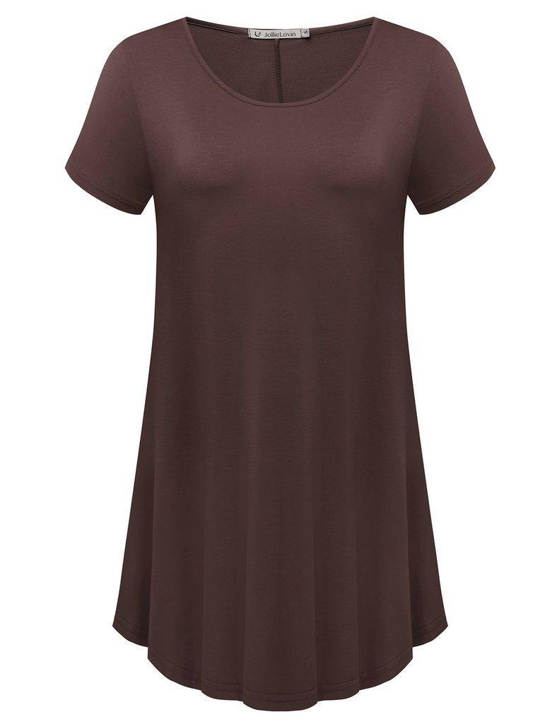 JollieLovin Women's Short Sleeve Loose Fit Flare Hem T Shirt Tunic Top (Coffee, M)
