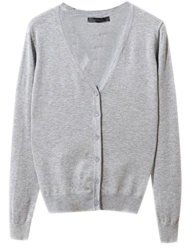 Gilet Femme Pull Col V Manches Longues Cardigan Avec Boutons Tricot Chandail Cardigans Basic Classique Pulls Casual Pull Haut Ladies Top Jumper Gris