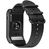 For Garmin VIVOACTIVE HR Band, Fintie Soft Nylon Sport Straps Adjustable Replacement Watch Bands with Metal Buckle Wristband for Garmin Vivoactive HR Sports GPS Smart Watch, Black
