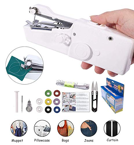 Handheld Sewing Machine Yibaisionn Portable Mini Electric Stitching Machine Fabric Curtains Cordless Craft Sewing Machine for Home Travel with Extra Bobbin, Needle and Threader 15 Pcs (Best Mini Portable Sewing Machine)
