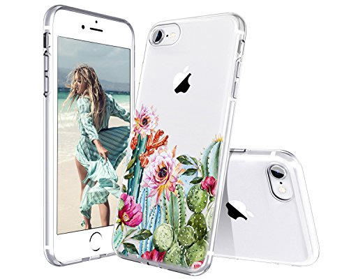 Lontect Compatible iPhone 8 Case, iPhone 7 Case, Slim Bumper Cushion Crystal Clear Floral Soft Flexible TPU Back Cover Transparent Scratch Resistant for Apple iPhone 8 / iPhone 7 - Cactus Flower
