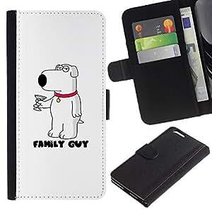 A-type (Cartoon White Dog Martini Character) Colorida Impresión Funda Cuero Monedero Caja Bolsa Cubierta Caja Piel Card Slots Para Apple (5.5 inches!!!) iPhone 6+ Plus / 6S+ Plus