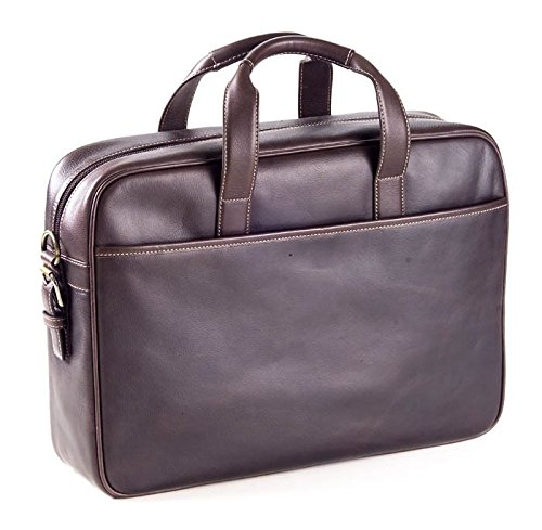 "Clava Leather Top Handle Tuscan 15"" Laptop Briefcase, Computer Bag in Cafe Brown"