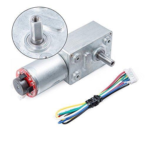 CQRobot Self - Locking Turbine Worm Deceleration DC Motor, Bipolar Hall Encoder. 12V/DC+150RPM+1.5kg.cm, Gear Ratio: 40:1. CQRANQI0015GB