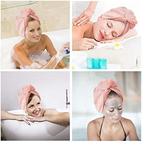 HaarTurban 2//3 St/ück Mikrofaser Hair Handtuch Schnelltrocknend HaarTurbans mit Knopf Absorbierendes Haar Handtuch Kopftuch f/ür Lange Haare