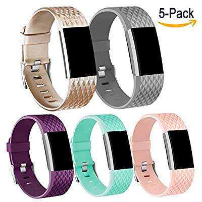 Vancle Fitbit Charge 2 Bands, Replacement Bands for Fitbit Charge 2 HR Sport Wristbands (Style C Gold Teal Gray Purple Blush Pink, Large)