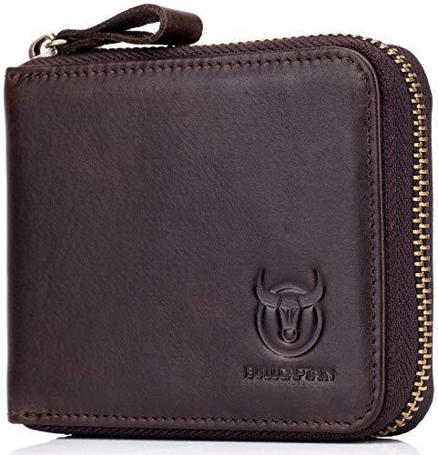 Men's RFID Blocking Wallets,Genuine Leather Short Zip-around Wallet for Men (Wallet Genuine Cowhide)