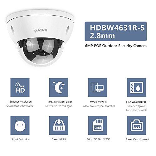 Dahua PoE Security Super HD 3072x2048 Surveillance IPC-HDBW4631R-S 2.8mm Lens with Card Weatherproof