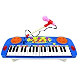 Happy Face 37 Keys Electric Organ Children's Kid's Battery Operated Toy Piano Keyboard Instrument w/ Microphone (Blue)