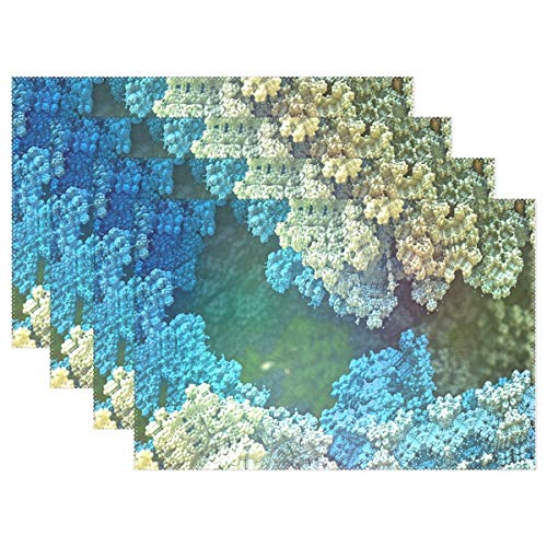 JTMOVING Fractal Formula Abstract Render Math Placemats Set Of 4 Heat Insulation Stain Resistant For Dining Table Durable Non-slip Kitchen Table Place Mats