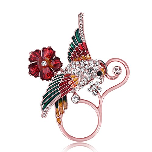 BEICHUANG Clear Crystal Colorful Bird on Red Flower Pretty Vine Eyeglass Holder Magnetic Brooch Pin (rose - Eyeglasses Pretty