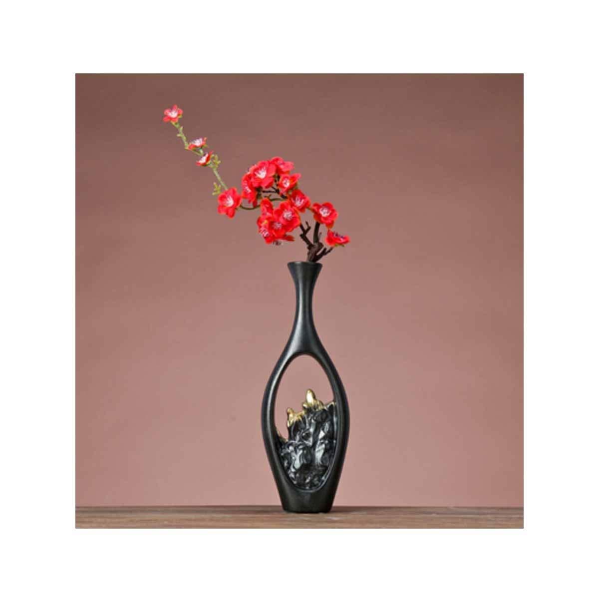 花瓶、クリエイティブ中国の陶製の花瓶、クリエイティブホームオフィスの飾り、長い黒い花を運ぶ (Color : Black 8) B07RSYHMMN Black 8
