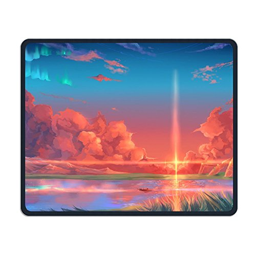 Computer Gaming Mouse Pad Animated Scenery Laptop Pad Non-Slip Rubber Stitched Edges 11.8 X 9.8 Inch