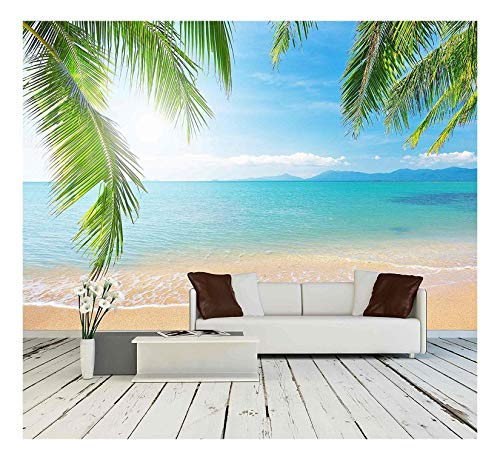 wall26 - Palm and Tropical Beach - Removable Wall Mural | Self-Adhesive Large Wallpaper - 66x96 inches (Mural Beach)