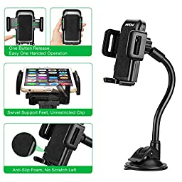 Mpow Cell Phone Holder for Car, Windshield Long Arm Car Mount with One Button Design and Anti-skid Base for iPhone 7/6S/6 Plus/6S/6/5S/5,Google Pixel/Pixel XL/Nexus 6/6P/5X/5, LG, HTC, Huawei, etc