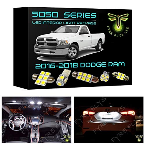 Fyre Flys 15 Piece 6000K White LED Interior Lights for 2016-2018 Dodge Ram 5050 Series SMD Package Kit and Install Tool