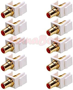 10x Audio Keystone Jack Modular RCA Red Center White Lot Pack