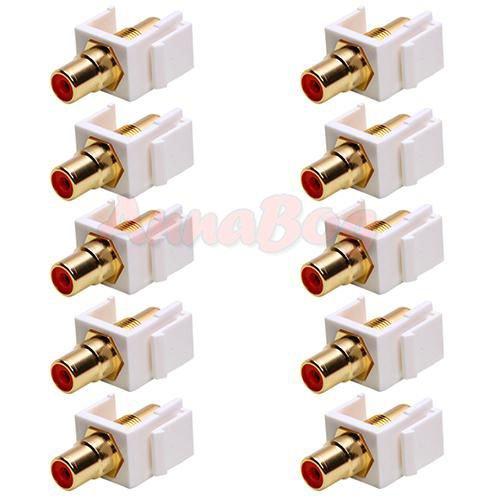 10x Audio Keystone Jack Modular RCA Red Center White Lot Pack ()