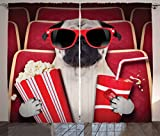 Pug Curtains by Ambesonne, Funny Dog Watching Movie Popcorn Soft Drink and Glasses Animal Photograph Print, Living Room Bedroom Window Drapes 2 Panel Set, 108 W X 84 L Inches, Red Cream Ruby
