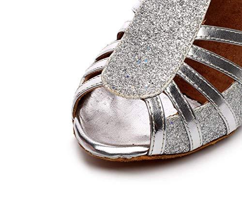 Hhgold Salle De Cheville Danse Tango Femmes Paillettes Sandales Salsa Bal À Argentées Et Lanières Talon Tango Pour Bas rq4rCAn6