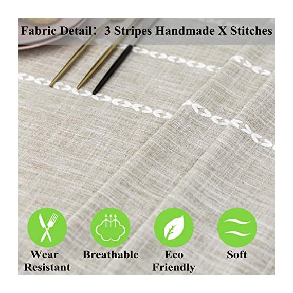 """Home Brilliant Faux Burlap Tablecloth Rectangular Oblong Table Cover for Kitchen Dinning Striped Tabletop Decoration (52 x 72 Inch, Light Linen) - READY MADE: Package contains 1 piece of table cloth: measures width 52"""" x length 72"""" (132cm x 182cm). Due to hand tailor and sewing, 0.5""""-1"""" deviation is allowed. MATERIAL: Home Brilliant table cloths are made of 100% premium polyester but Look just like luxurious linen fabric. This fabric is designed to withstand repeated use and frequent laundering.Please iron after laundering. VERSATILE: Home Brilliant Table Cloth can be used on many places and many occasions: can be used such as kitchen tablecloth, dinning table cloth for daily use, buffet table cover for parties and weddings, outdoor table covers for friends gathering. - tablecloths, kitchen-dining-room-table-linens, kitchen-dining-room - 510kYWY0LLL. SS570  -"""