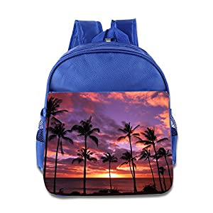 Palm Tree Sunset Kids Backpack Boys Girls School Bag(two Colors:pink Blue) RoyalBlue
