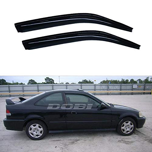 Riseking Out-Channel 2pcs fit 1996-2000 Honda Civic 2-Door Coupe Exterior Door Trim Sun Rain Guard Vent Shade Side Window Wind Deflectors Window Visors