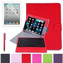 HDE Folding iPad Case Leather Cover Stand Bluetooth Keyboard + Stylus Pen for iPad 2 iPad 3 iPad 4 (Red)