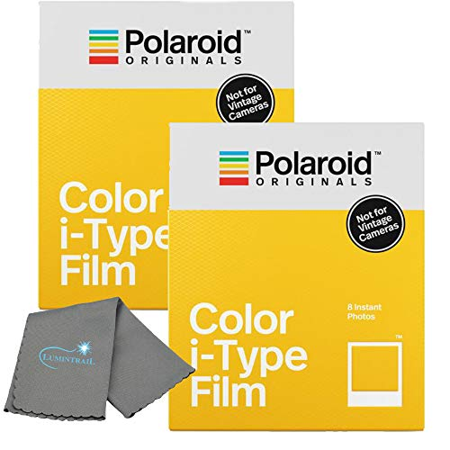 Polaroid Originals Instant Color Film for i-Type Cameras 2 Pack, 16 Instant Photos Bundle with a Lumintrail Cleaning Cloth (Instant Polaroid Step Film One)