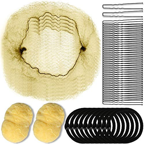 YGDZ 40pcs Hair Nets Invisible Elastic Edge Mesh for Women Girls Bun, 10 Hair Elastic Bands & 40pcs U-Shaped Bobby Pins (Blonde)