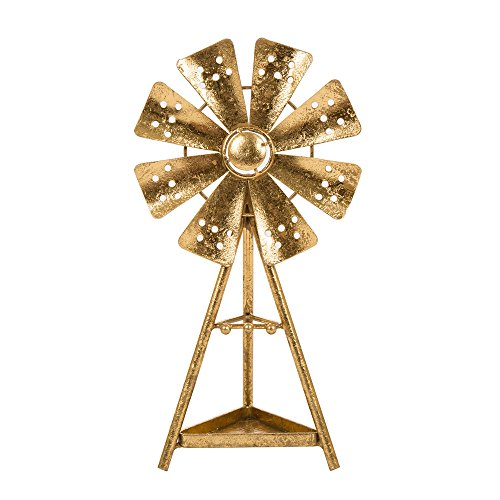 Glitzhome Glam Accent Home Collectible Figurine Brass Tabletop Garden Windmill Decor Ornamen Jewelry Holder for Earrings Necklaces Bracelets Accessories