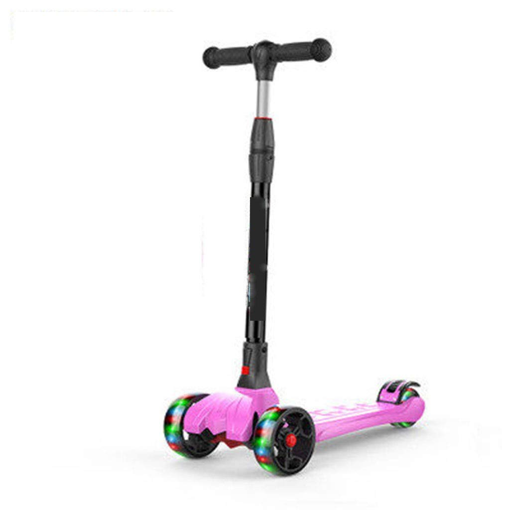 Pink LIANG Scooter Four-wheel Flash Folding Can Lift 3-6-14 Years Old Beginner Baby Yo Car (color   Pink)